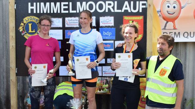 Die Siegerinnen des 4,1-km-Kurzlaufes: iris Koch, Maritt Mokelke un Franziska Herberger