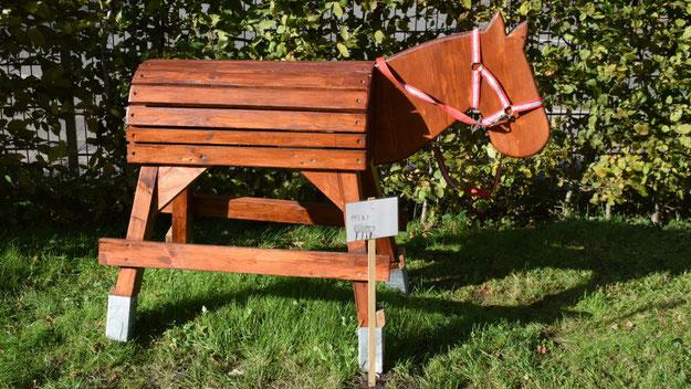 Dieses Holzpferd, von einem Vater gebaut und gespendet, bot den Kindern auch bisher schon Spielmöglichkeiten.