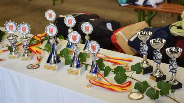 Jeder Teilnehmer erhielt ein Medaille und auf die Gewinner warteten diese Pokale sowie zahlreiche Sachgewinne, die die Sponsoren gestiftet hatten.