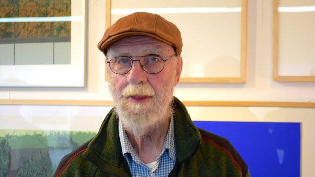 Der Maler und Grafiker Werner Nöfer ließ es sich nicht nehmen, die Ausstellung mit Werken aus der Fahrenkrug-Sammlung zu besuchen. Dr. Fahrenkrug besitzt selbst zahreiche Nöfer-Grafiken, die er erst vor kurzem im Kunstverein zeigte.