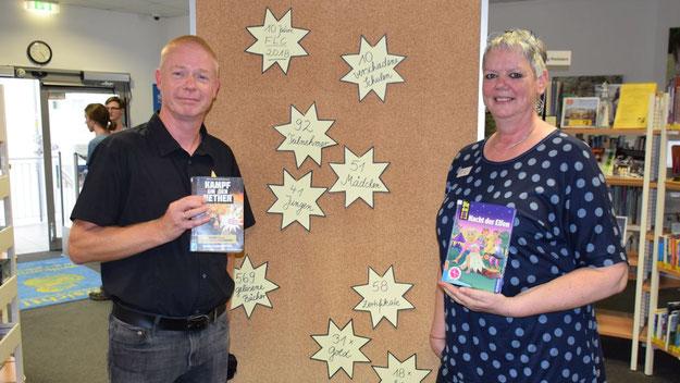 Die Büchereileiter Klaus Fechner und Monika Pütz freuten sich über den Erfolg des diesjährigen Ferrien-Lese-Clubs, den sie an einer Pinnwand dokumentierten: 92 TeilnehmerInnen, 569 gelesene Bücher, 58 Zertifikate