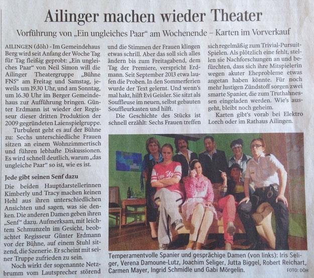 """Vorbericht Schwäbische Zeitung """" Ein Ungleiches Paar"""""""