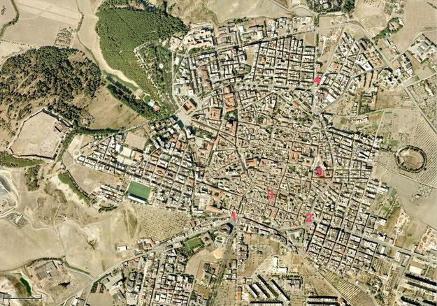 Veduta satellitare di Lucera con le chiese che sarebbero state edificate da S. Pardo