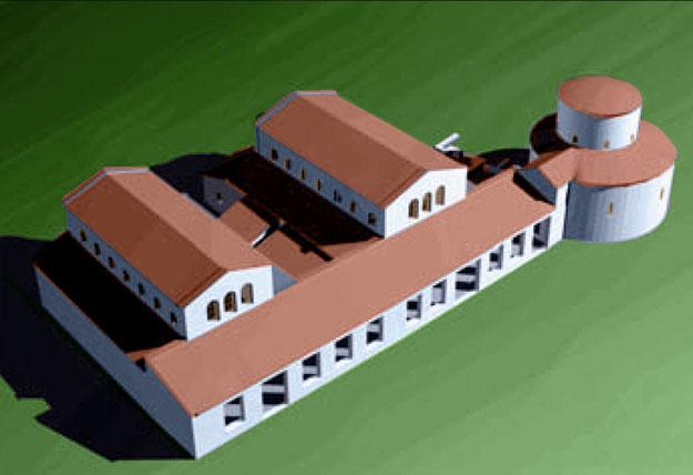 """Ricostruzione tridimensionale del complesso paleocristiano con le due chiese parallele (""""ecclesia geminata"""")"""
