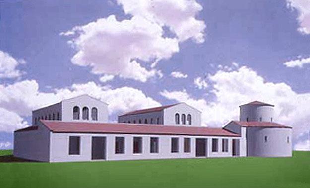 Ricostruzione tridimensionale della veduta prospettica del complesso [dal sito web dell'area di archeologia del Dipartimento di Scienze Umane dell'Università di Foggia; www.archeologia.unifg.it]