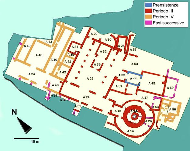 San Giusto: pianta del complesso paleocristiano, con indicazione delle varie fasi