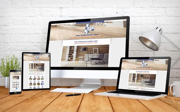 Homepage der Firma van Zadelhoff Bodenbelaege, auf mehreren Devices.