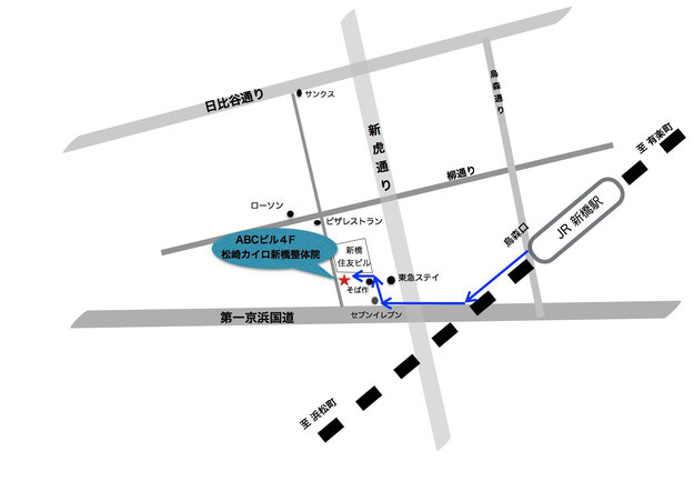 新橋駅から松崎カイロまでの地図