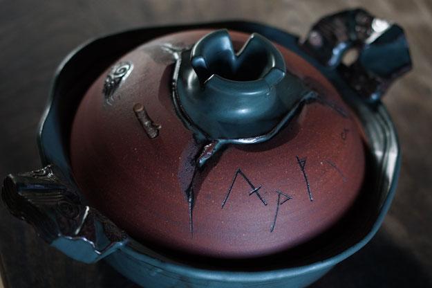 仲本律子 茨城県笠間市 陶芸作家 陶芸家 土鍋作品 土鍋 耐熱 作家物 デザイン土鍋 個性的
