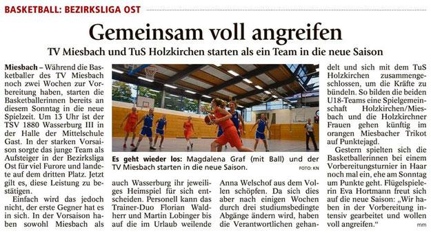 Artikel im Miesbacher Merkur am 22.9.2018 - Zum Vergrößern klicken