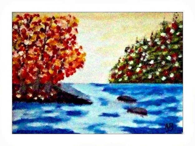 Landschaft-Fluss-Waöd-Blühende Bäume-Blumen-Steine-Ölmalerei-Ölgemälde
