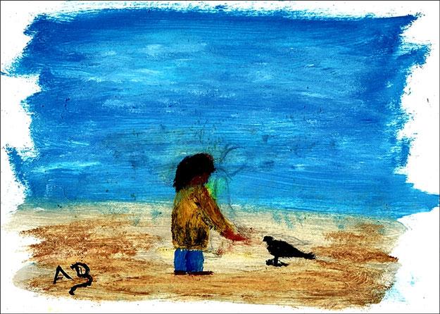 Fgurales Ölgemälde-Junge füttert Vogel-Blauer Himmel, grüne Wiese, kleiner Junge und Vogel.