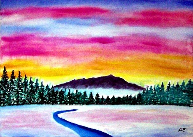 Winterlandschaft-Ölmalerei-Sonnenuntergang-Berge-Nebel-Wald-Bäume-Fluss-Bach-Schnee-Ölbild-Ölgemälde
