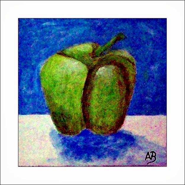 Ölgemälde-Stilleben mit grüner Paprika-Blau Weisser Hintergrund-Moderne Ölmalerei