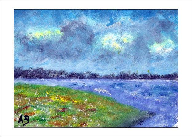 Seelandschaft-Ölbild-Wald-Bäume-See-Wiese-Blumen-Meer-Ölmalerei-Ölgemälde
