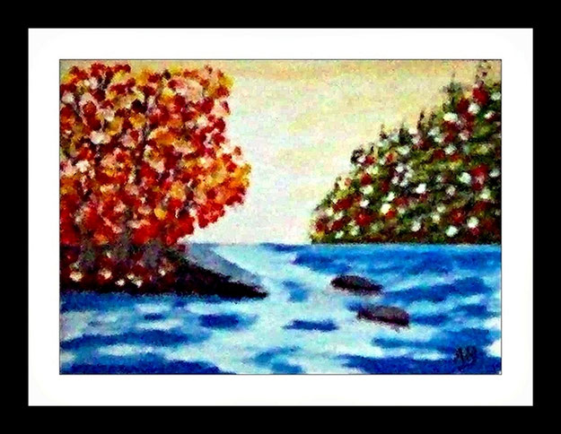 Landschaft-Fluss-Bäume-Waldlandschaft-Wiese-Blumen-Steine-Felsen-Moderne Malerei-Ölmamalerei-Gemälde