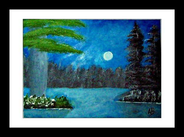 Landschaft-See-Vollmond-Wald-Mondschein-Bäumen-Blumen-Pflanzen-Ölmalerei