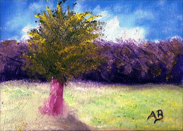 Baum im Feld-Original Ölgemälde von Armin Behnert-Oi-Leinwand auf Karton-Leinwand aus 100% Baumwollgewebe-Bild 24 cm x 18 cm