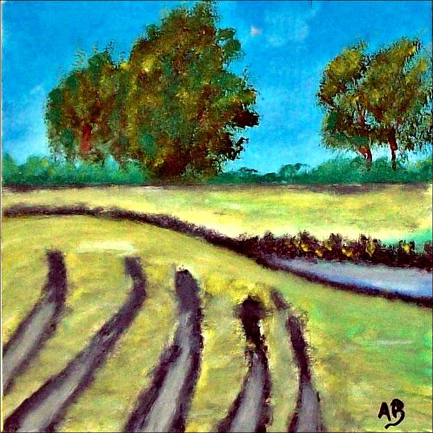 Landschaft-Ölmalerei-Bäume-Felder-Bach-Wasser-Büsche-Gras-Herbst-Ölbild-Ölgemälde