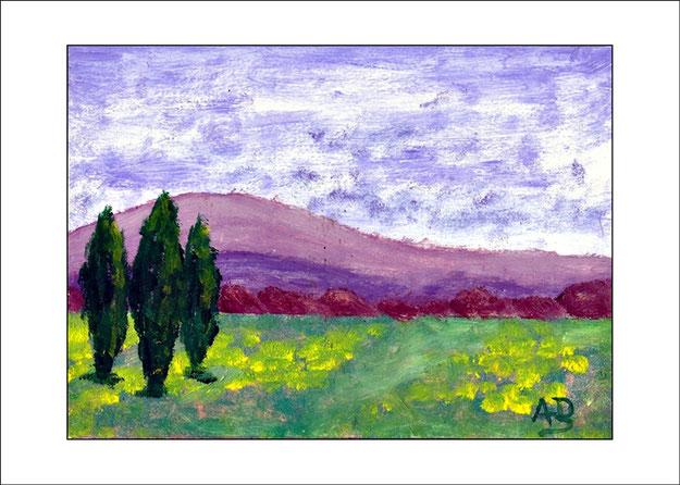 Hügellandschaft mit blau, weißem Himmel, Hügelkette und Baumreihen im Hintergrund. Blümenwiese und Bäumen im Vordergrund. Ölgemälde.