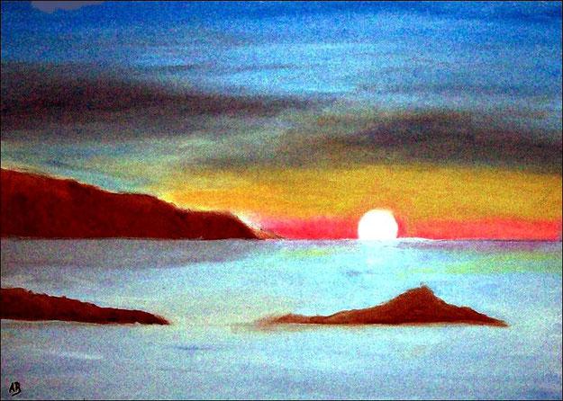 Meerlandschaft-Ölmalerei-Landschaft-Sonnenuntergang-Küste-Strand-Felsen-Steilküste-Ölbild-Ölgemälde