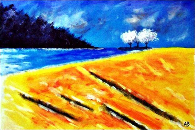 Flufflandschaft-Ölmalerei-Wald-Bäume-FeldFluss-Landschaft-Ölbild-Ölgemälde-Landschaftsmalerei