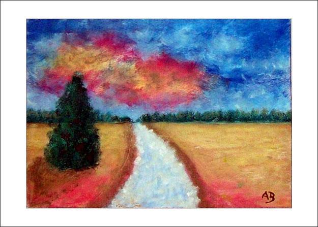 Landschaft-Ölmalerei-Wald-Felder-Baum-Weg-Weizenfelder-Ölbild-Ölgemälde