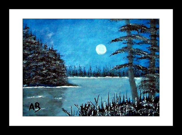 Landschaft-Vollmond-Nacht-Seelandschaft-Wald-Bäume-Blumen-Natur-Baum-Ölmalerei