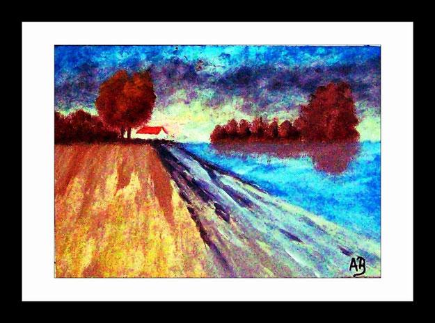 Landschaft-Feld am Fluss-Bäume-Himmel-Fluss-Haus-Feld-Herbst-Wolken-Ölgemälde-Ölmalerei