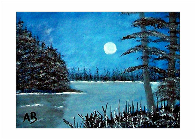 Landschaft-Seelandschaft-Nact-Vollmond-Wald-Bäume-Kiefern-Fichten-Blumen-Ölmalerei-Ölgemälde
