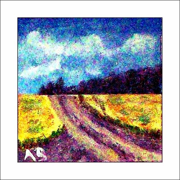 Feldlandschaft-Ölmalerei-Wald mit gelben Feldern und Feldweg-Ölgemälde