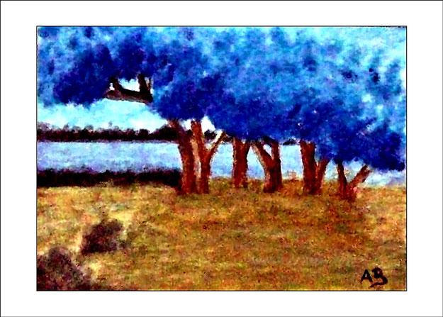Blauer Himmel, Wald See, Wiese, Bäume