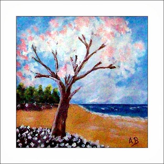 Strand mit Frühlingsbaum und Blumen-Wald-Strand-Meer-Acrylmalerei-Gemälde