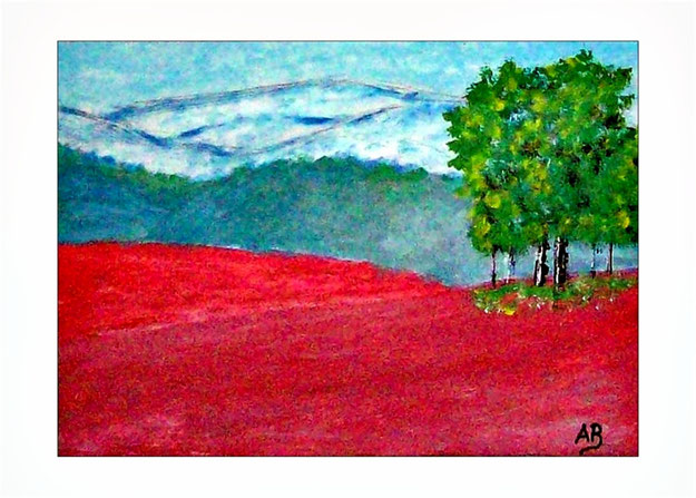 Landschaft-Hügel-Wälder-Bäume-Blumen-Wiese-Hogellanschaft-Ölmalerei-Ölgemälde