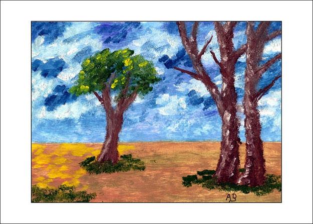 Landschaft, Hintergrund: wolkenhimmel, Vordergrund: Wiese, Pflanzen und drei Bäume