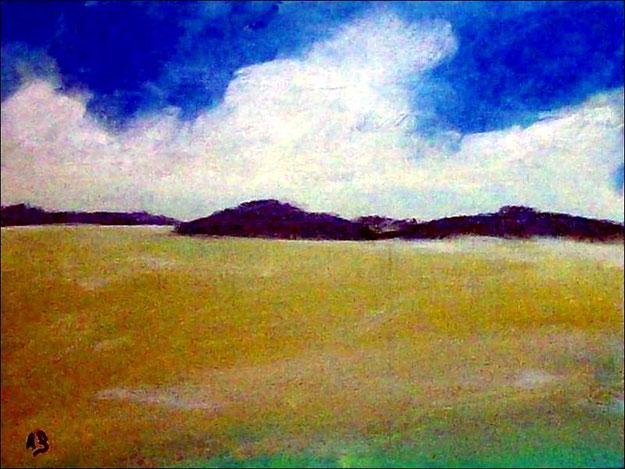 Landschaft-Ölmalerei-Hügellandschaft-Felsen-Berge-Felder-Bäüme-Ölbild-Ölgemälde