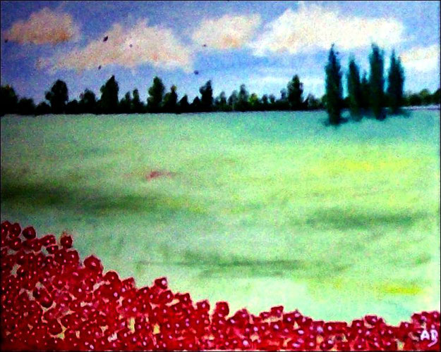 Landschaft-Weizenfeld-Ölmalerei-Wald-Bäume-Blumen-Sommer-Feld-Ölbild-Ölgemälde
