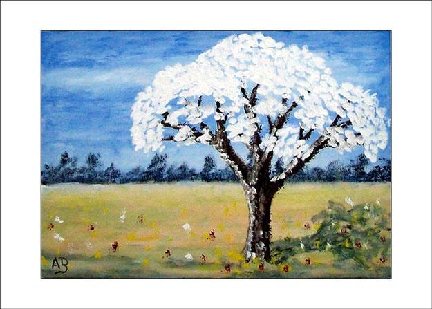 Frühlingslandschaft-Ölmalerei-Landschaft-Feld-Bäume-Baum-Blüten-Blumen-Ölbild-Ölgemälde