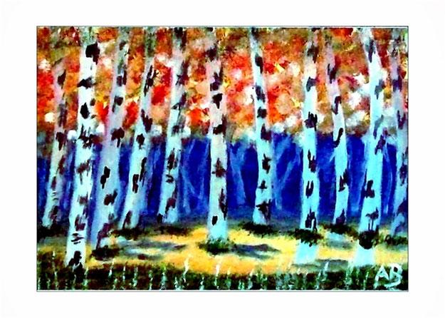Waldlandschaft-Bäume-Birken-Wiese-Landschaft-Wald-Ölmalerei-Gemälde