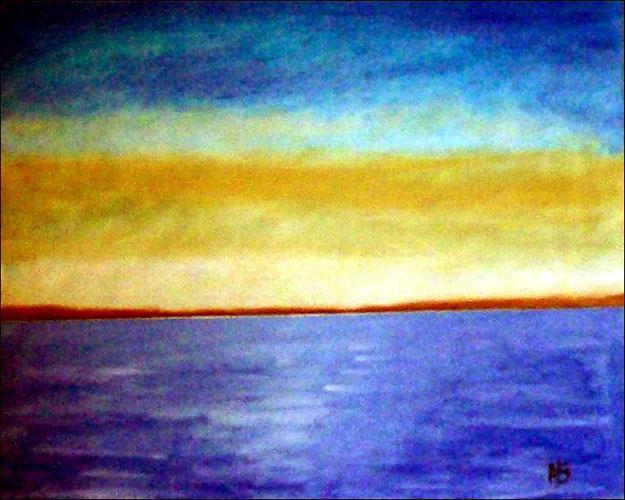 Meerlandschaft-Ölmalerei-Landschaft-Sonnenuntergang-Meer-Küste-Ölbild-Ölgemälde