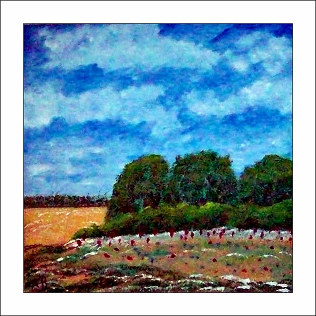 Landschaft mit Feldern und Bäumen-Blumen und Büschen-Wiese-Ölmalerei