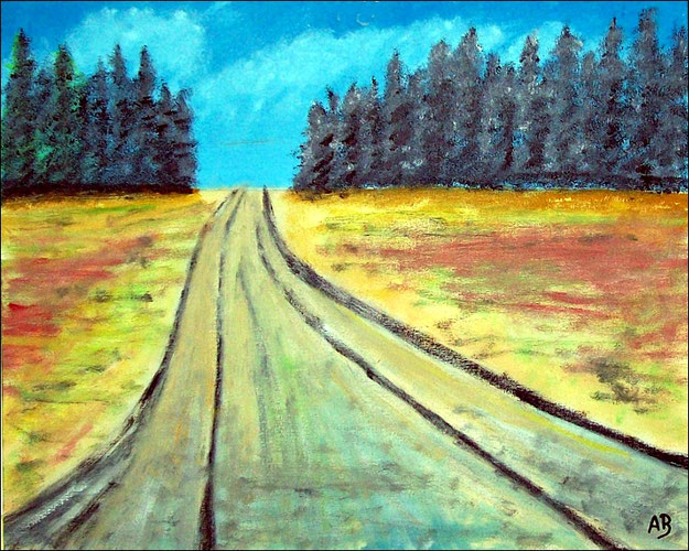 Landschaft-Felder-Ölmalerei-Feldlandschaft-Bäume-Wald-Weg-Sommer-Ölbild-Ölgemälde-Malerei-Kunst