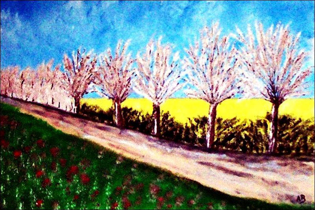 Frühlingslandschaft-Ölmalerei-Rapsfeld-Blühende Bäume-Landschaftsbild-Büsche-Feldweg-Wiese-Blumen-Landschaftsmalerei-Ölbild-Ölgemälde
