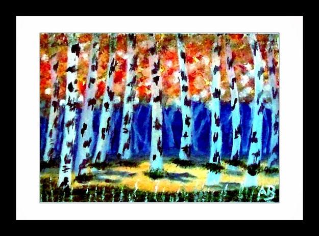 Landschaft-Wald-Birkenbäume-Wiese-Ölgemälde-Moderne Malerei-Blumen-Ölmalerei