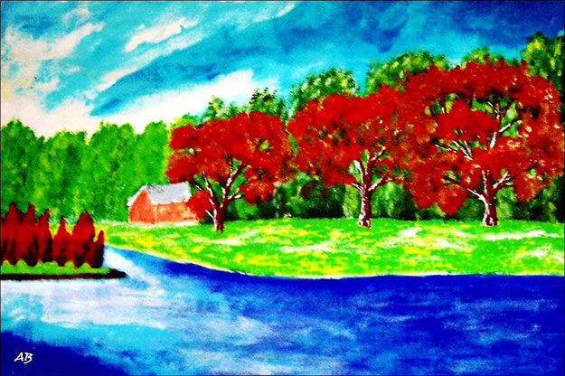 Flusslandschaft-Acrylmalerei-Bäume-Wald-Haus-Wiese-Fluss-Wasser-Insel-Himmel-Wolken-See-Acrylbild-Acrylgemälde-Landschaftsmalerei