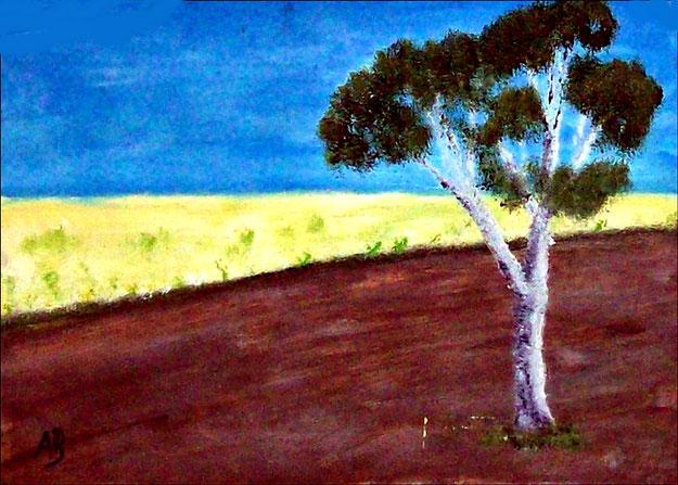 Landschaft-Ölmalerei-Felder-Raps-Baum-Acker-Frühling-Ölbild-Ölgemälde