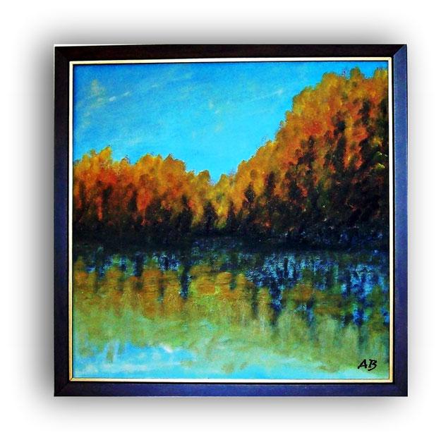 Herbstlandschaft-Ölmalerei-See-Reflektionen-Bäume-Herbst-Landschaft-Himmel-Wasser-Ölbild-Ölgemälde