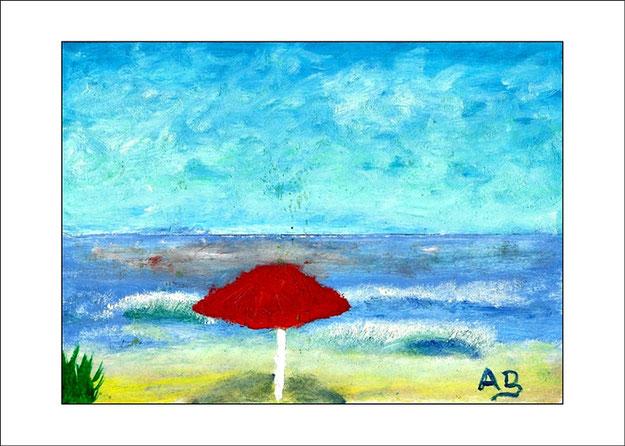Meerlandschaft mit blauem Himmel, Meer mit Wellen und Strand mit Sonnenschirm. Ölmalerei.