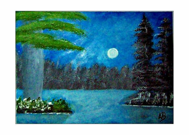 Seelandschaft-Nacht-Vollmond-Wald-See-Bäume-Kiefern-Blumen_Ölmalerei-Gemälde