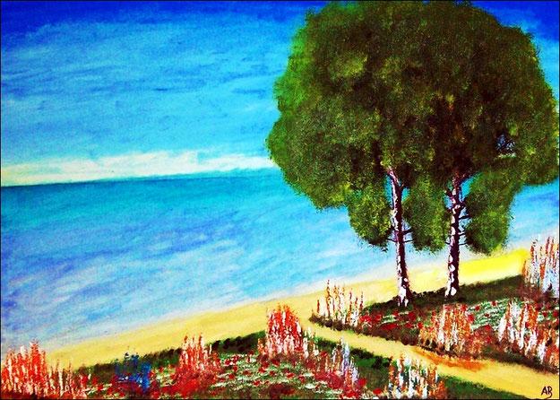 Meerlandschaft-Ölmalerei-Himmel-Meer-Strand-Sommer-Bäume-Weg-Blumen-Gras-Landschaft-Ölbild-Ölgemälde